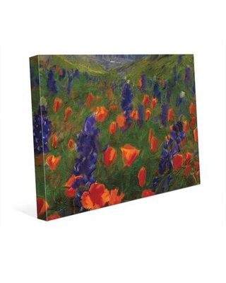"Click Wall Art 'Alps Flowers' Painting Print on Wrapped Canvas LND0000317CAN Size: 24"" H x 36"" W x 1.5"" D"