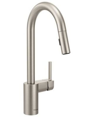 Moen Align Pull Down Single Handle Kitchen Faucet Finish: Black Stainless