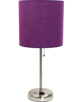 Limelights 19.5 in. Stick Lamp with Charging Outlet and Purple Fabric Shade