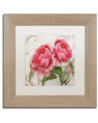 """Trademark Fine Art 'Apricot Peonies I' Framed Painting Print ALI4422-T1 Size: 11"""" H x 11"""" W x 0.5"""" D Mat Color: White"""