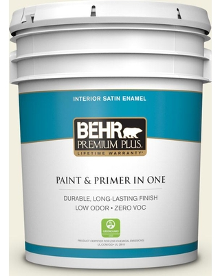 BEHR Premium Plus 5 gal. #GR-W01 White Wool Satin Enamel Low Odor Interior Paint and Primer in One