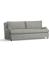 """Carlisle Slipcovered Grand Sofa 90.5"""" with Bench Cushion, Down Blend Wrapped Cushion, Performance Everydaysuede(TM)Metal Gray"""