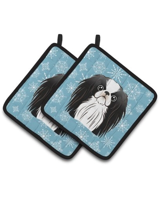 Snowflake Japanese Chin Pair of Pot Holders
