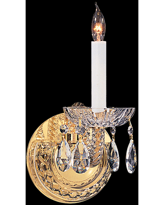 Crystorama Traditional Crystal 12 inch Wall Sconce in Polished Brass with Clear Spectra Crystals