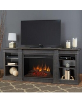 """Real Flame Eliot Grand Electric Fireplace TV Stand for TVs up to 88"""" w/ Electric Fireplace IncludedWood in Gray, Size 34.25 H x 81.125 W x 19.0 D in"""