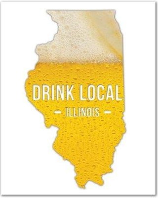 """Wrought Studio 'Illinois Drink Local Beer' Graphic Art Print on Canvas VRKG8595 Size: 20"""" H x 16"""" W Format: Wrapped Canvas"""