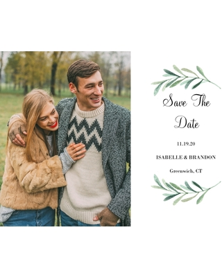 Save the Date Flat Glossy Photo Paper Cards with Envelopes, 5x7, Card & Stationery -Wedding Save the Date Foliage Wreath by Tumbalina