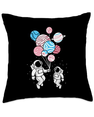 Astronaut Holding Transgender Planet Balloons Trans Pride Throw Pillow, 18x18, Multicolor