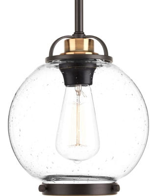 Progress Lighting Chronicle Collection 1 Light Antique Bronze Mini Pendant With Clear Seeded Gl