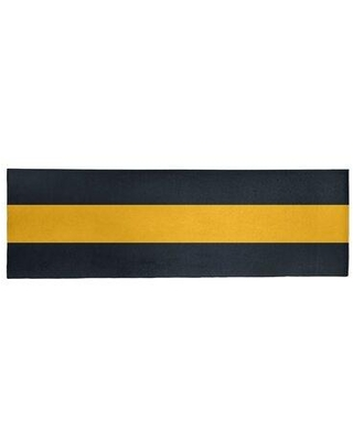 """East Urban Home Pittsburgh Football Stripes Poly Black Area Rug FCLS3347 Rug Size: Runner 2'6"""" x 8'"""
