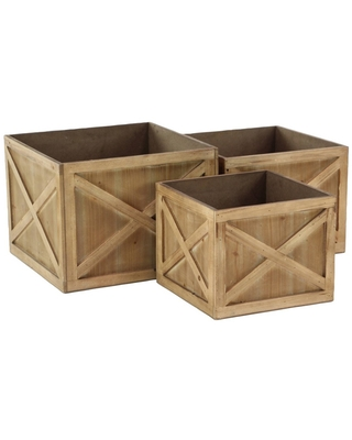 Set of 3 Farmhouse Stained Wooden Square Crate Planters - Olivia & May