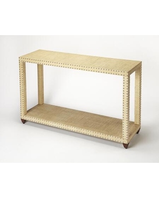 Danilo Collection 3862349 Console Table with Modern Style Rectangular Shape Medium Density Fiberboard (MDF) and Solid Wood in Cream Raffia