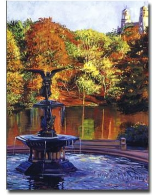 """Trademark Art """"Fountain at Central Park"""" by David Lloyd Glover Painting Print on Wrapped Canvas DLG0026-C Size: 32"""" H x 24"""" W x 2"""" D"""