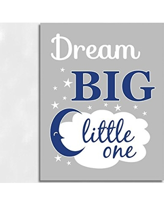Navy Blue Canvas Baby Boy Nursery Wall Art Dream Little One Moon Stars