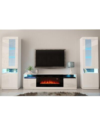 """Orren Ellis Delaine Entertainment Center for TVs up to 88"""" w/ Electric Fireplace Included, Wood/Clear Glass in White 