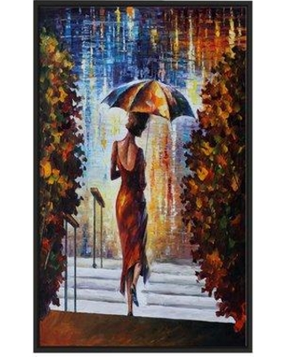 "Winston Porter 'At the Steps' Framed Oil Painting Print on Wrapped Canvas BI022918 Size: 33.5"" H x 21.5"" W x 2"" D"