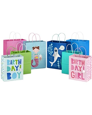 """Hallmark Paper Gift Bags Assortment (Pack of 8; 4 Medium 10"""", 4 Large 13"""") in Pink, Blue, Green, Mermaid, Shark for Kids' Birthdays or Any Occasion"""