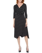 Perceptions 3/4 Sleeve Striped High-Low Fit & Flare Dress, X-large , Black
