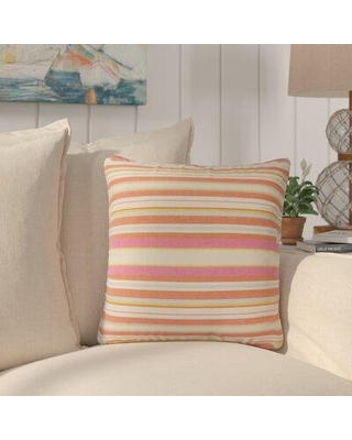 """Rosecliff Heights Sawyers Striped Cotton Throw Pillow, Cotton/Down/Feather in Orange, Size 18X18"""" 