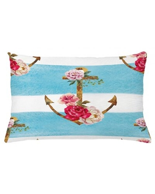 """Shabby Flora Indoor / Outdoor Lumbar Pillow Cover East Urban Home Size: 16"""" x 26"""""""