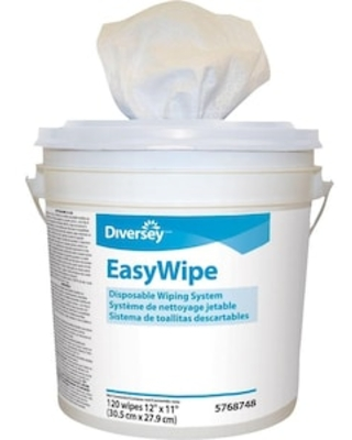 Diversey EasyWipe Dry Cloths, White, 120/Bucket, 6 Buckets/Carton (5768748) | Quill
