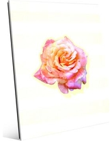 """Click Wall Art Glass Stripes Rose Graphic Art on Plaque in Yellow BDL0000027GLS Size: 10"""" H x 8"""" W x 1"""" D"""
