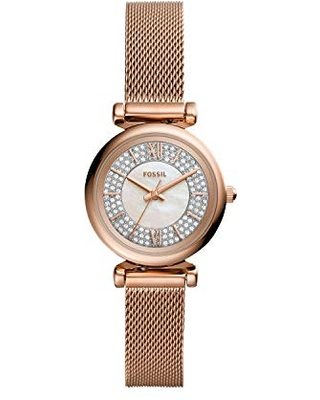 Fossil Women's Carlie Mini Quartz Watch with Stainless Steel Strap, Rose Gold, 12 (Model: ES4836)