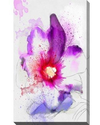 """Ebern Designs 'Splashes V' Watercolor Painting Print on Wrapped Canvas BF092287 Size: 40"""" H x 24"""" W x 1.5"""" D"""