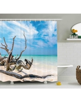 Amazing Deals On Ebern Designs Katherine Seascape Theme Driftwood On The White Sandy Beach Digital Image Single Shower Curtain Ebnd2455 Size 69 W X 75 H