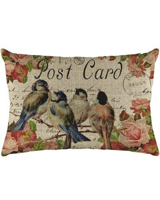 Ophelia & Co. Della Flowers and Birds Linen Lumbar Pillow W001836320