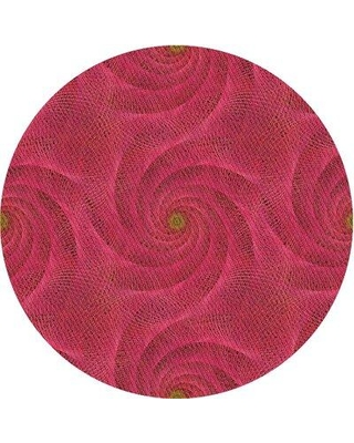 East Urban Home Wool Pink Area Rug X111745043 Rug Size: Round 4'
