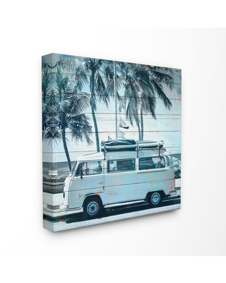 "17 in. x 17 in. ""Blue Tinted Retro Van By the Beach Planked Look"" by Kimberly Allen Canvas Wall Art, Multi-Colored"