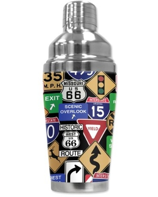 """Mugzie """"Highway Signs"""" Cocktail Shaker with Insulated Wetsuit Cover, 16 oz, Black"""