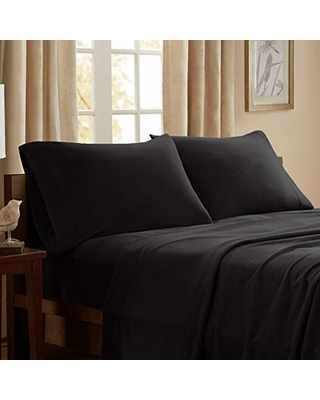 """Peak Performance 3M Scotchgard Micro Fleece Wrinkle and Stain Resistant, Soft Plush Sheets with 14"""" Deep Pocket Cold Season Cozy Bedding-Set, Matching Pillow Case, Full, Black"""