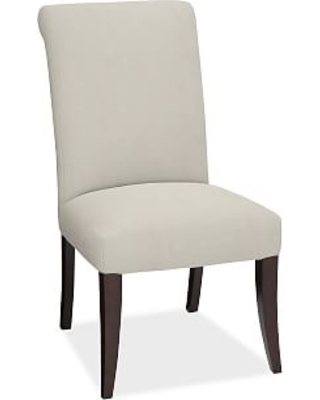 PB Comfort Dining Roll Arm Upholstered Side Chair, Performance everydaysuede(TM) Stone