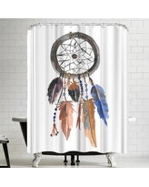 East Urban Home Jetty Printables Blue and Brown Tribal Dreamcatcher Shower Curtain URBR4904