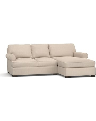 Townsend Roll Arm Upholstered Left Arm Sofa with Chaise Sectional, Polyester Wrapped Cushions, Sunbrella(R) Performance Sahara Weave Oatmeal