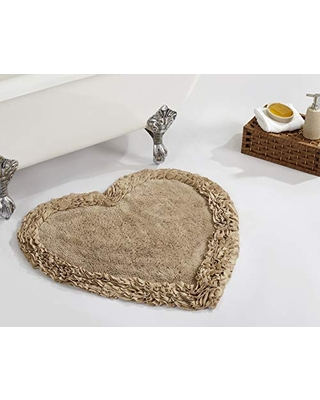 """Better Trends Shaggy Border Collection is Ultra Soft, Plush and Absorbent Tufted Bath Mat Rug 100% Cotton in Vibrant Colors, 30"""" Heart, Beige"""