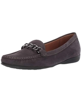 Driver Club USA Women's Genuine Leather Chain Detail Driving Loafer, Grey Nubuck, 9.5 M US