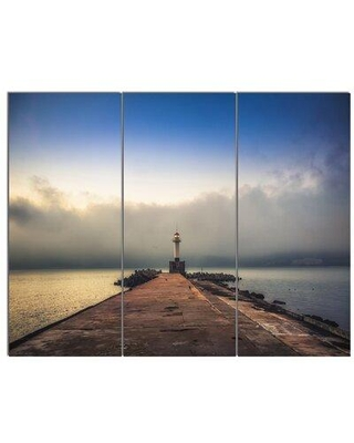 "Design Art 'Lighthouse on Coast & Cloudy Sky' 3 Piece Photographic Print on Wrapped Canvas Set, Canvas & Fabric in Brown/White, Size Medium 25""-32"""