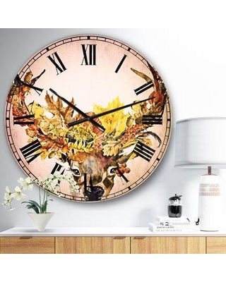 East Urban Home Oversized Roe Deer with Flowers Metal Wall Clock EBIC3037 Size: Medium