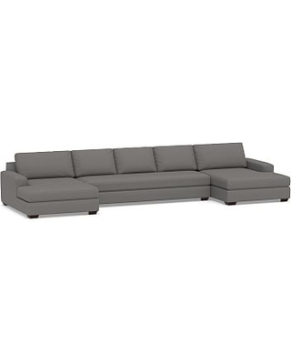 Big Sur Square Arm Upholstered U-Double Chaise Grand Sofa Sectional with Bench Cushion, Down Blend Wrapped Cushions, Performance Brushed Basketweave Slate