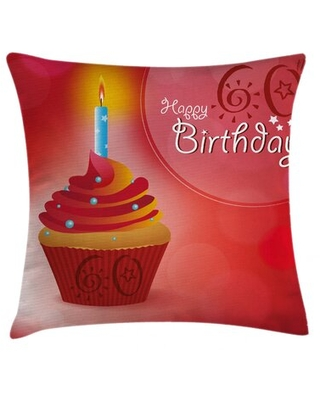 """60th Birthday Indoor / Outdoor 36"""" Throw Pillow Cover East Urban Home"""