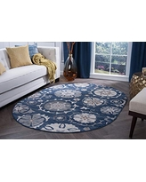 Wendy Transitional Floral Navy Oval Area Rug, 5' x 7' Oval