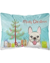 The Holiday Aisle Peabody Christmas Tree and French Bulldog Fabric Indoor/Outdoor Throw Pillow BI148809
