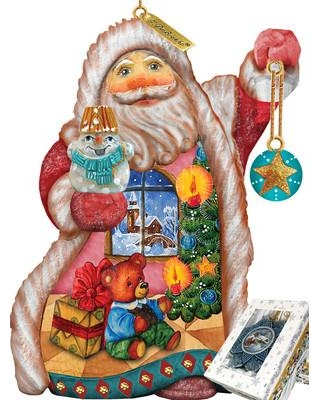 The Holiday Aisle Fifield Teddy Santa Ornament Figurine with Scenic Painting Derevo Collection UIMZ7589