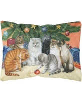 Winston Porter Lester Cats Under the Christmas Tree Fabric Indoor/Outdoor Throw Pillow BF148374