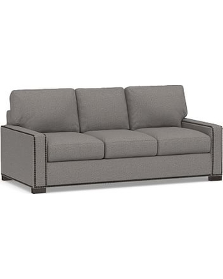 """Turner Square Arm Upholstered Sleeper Sofa 3-Seater 84"""" with Memory Foam Mattress & Bronze Nailheads, Polyester Wrapped Cushions, Performance Chateau Basketweave Blue"""