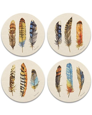 CoasterStone Feathers Set of 4 Coasters, One Size, Multicolored
