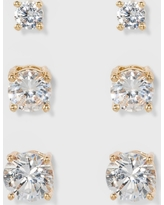 Women's Fashion Trio Crystal Round Stud - A New Day Silver/Gold, Bright Gold